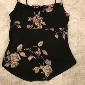 Black Crop Top With Flowers